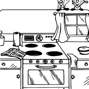 Messy Kitchen Coloring Pages