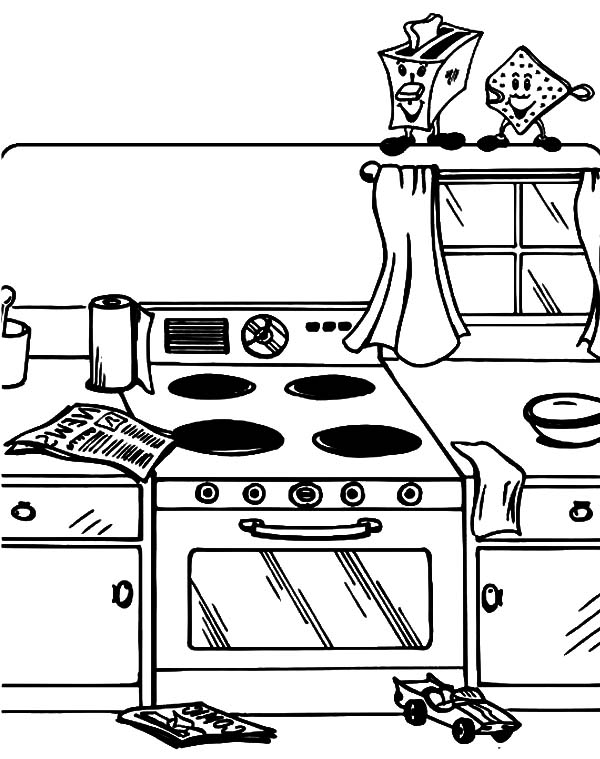 Helping Mom Cleaning Table Kitchen Coloring Pages - Download ... | 759x600