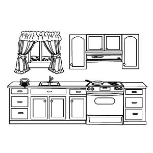 My House Kitchen Coloring Pages