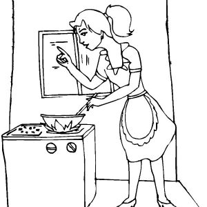 My Mom Is Cooking In The Kitchen Coloring Pages