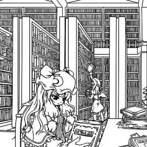 Patchouli's Library Coloring Pages