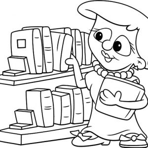 Picking Book In The Library Coloring Pages