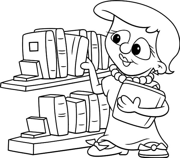 Picking Book In The Library Coloring Pages Download Print Online
