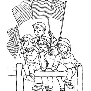 Preschooler Kids Celebrate Flag Day Coloring Pages