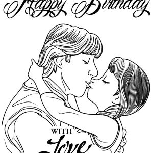Princess Anna Kiss Kristoff Coloring Pages