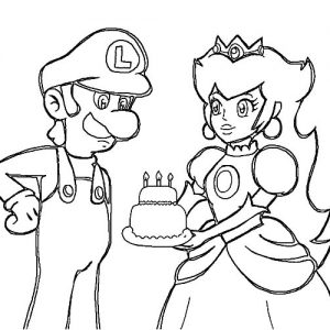 Princess Peach Give Luigi Birthday Cake Coloring Pages