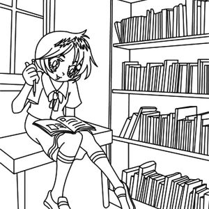 Pupil Sitting On Library Table Coloring Pages