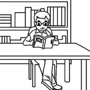 Pupil With Glasses Reading A Book In The School Library Coloring Pages
