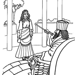 Queen Esther Accept Kings Order Coloring Pages
