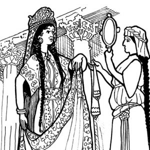 Queen Esther Look Into Mirror Coloring Pages