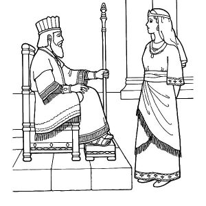 Queen Esther Talking To King Coloring Pages