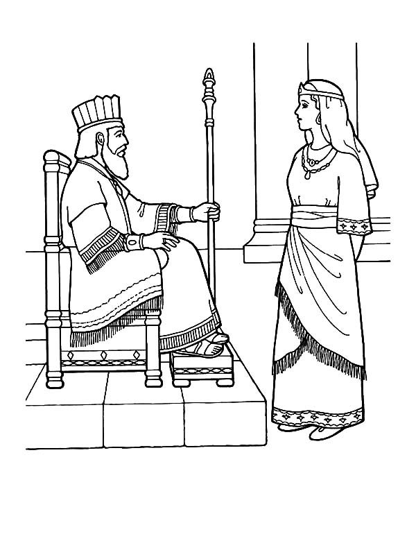 Queen Esther Talking To King Coloring Pages Download Print