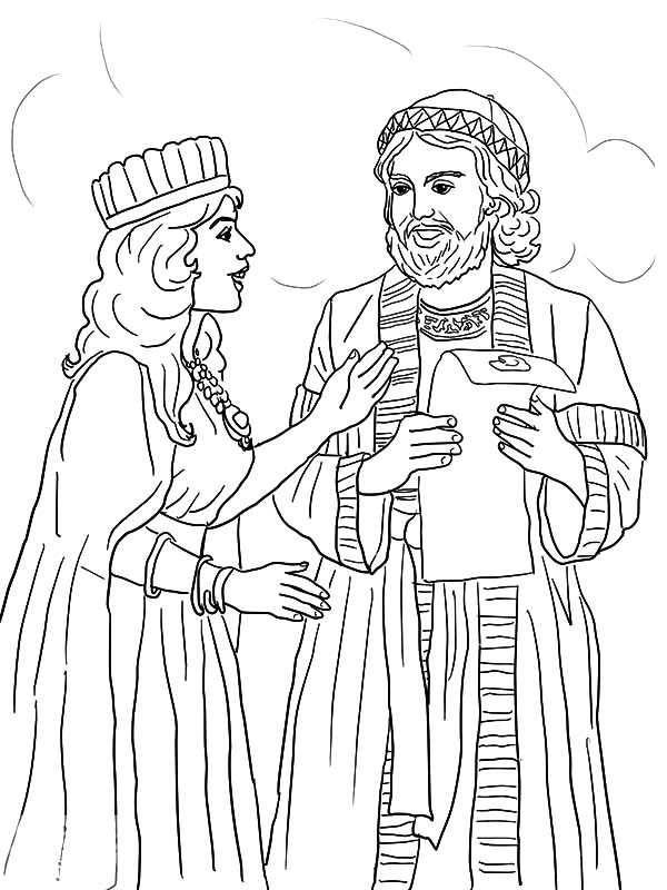 Queen Esther And Mordecai With Kings Edict Coloring Pages Download