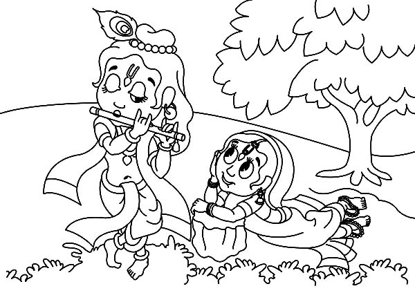 Radha Watching Krishna Play Her a Song with Flute Coloring Pages