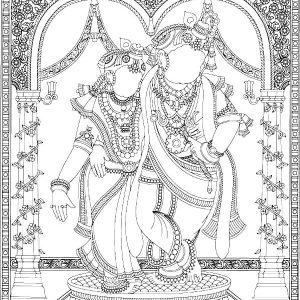 Radha And Krishna Mosaic Coloring Pages
