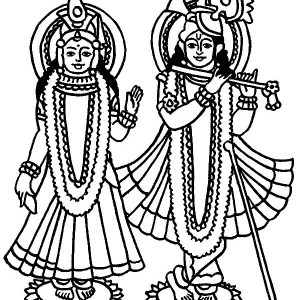Radha And Krishna Statue Coloring Pages