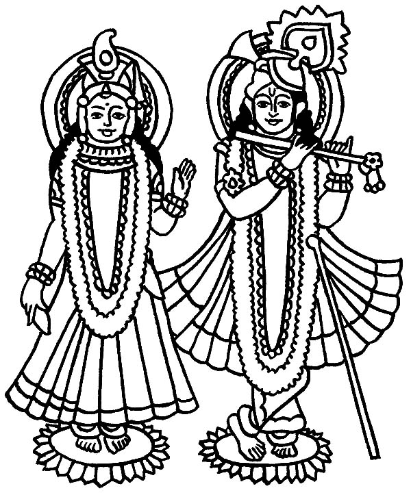Radha And Krishna Statue Coloring Pages Download Amp Print