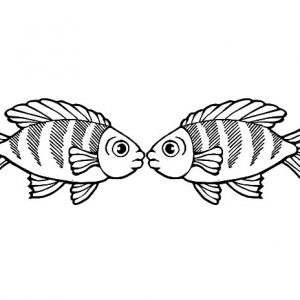 Rainbow Fish Kissing Coloring PageS
