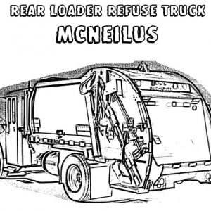 Rear Loader Garbage Truck Coloring Pages
