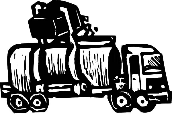 Garbage Truck Recycling Pick Up Coloring Pages