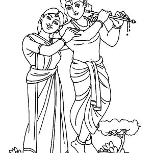 Romance Between Radha And Krishna Coloring Pages
