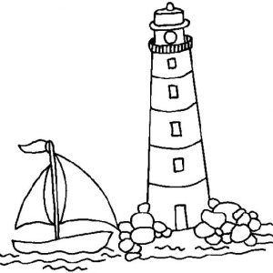 Sail Boat Approaching Lighthouse Coloring Pages