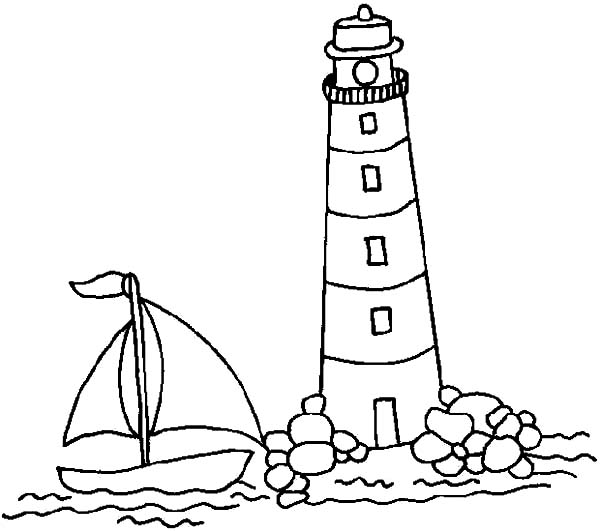 Sail Boat Approaching Lighthouse Coloring Pages - Download & Print ...