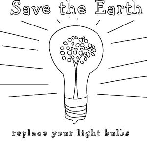 Save The Earth Light Bulb Coloring Pages