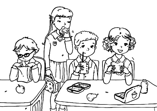 school student eat from lunchbox colouring pages coloring page