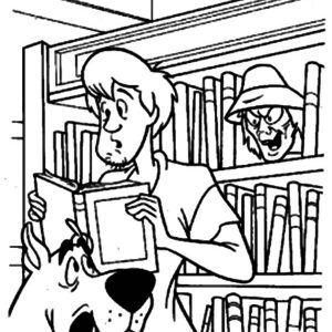 Scooby And Shaggy Saw Library Ghost Coloring Pages