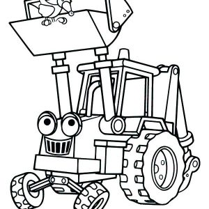 Scoop The Excavator Vehicle Coloring Pages