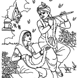 Shri Krishna Janmashtami Playing Flute For Radha Coloring Pages
