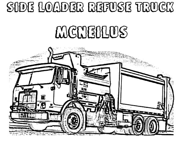 Side Loader Refuse Garbage Truck Coloring Pages Download Print