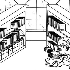 Sitting And Reading In Library Coloring Pages