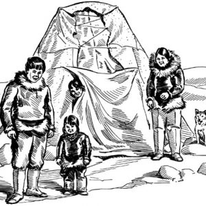 Sketch Of Eskimo Girl And Her Family Coloring Pages