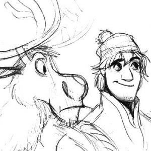 Sketching Kristoff And Sven Coloring Pages
