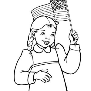 Smiling Girl Waving Flag On Flag Day Coloring Pages