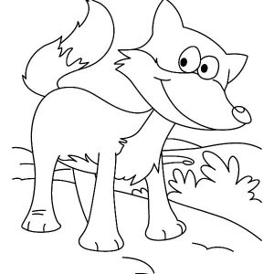 Smiling Kit Fox Coloring Pages
