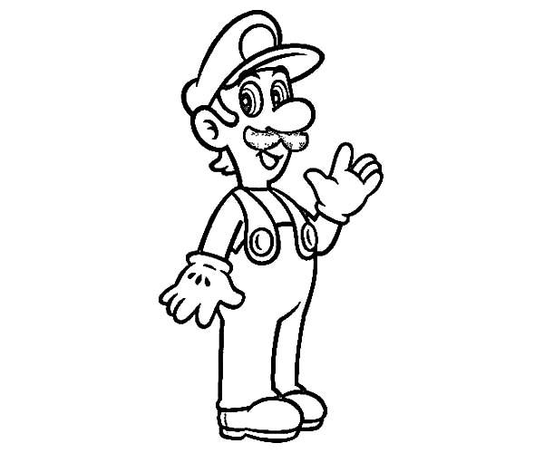 coloring pages luigi | Smiling Luigi Coloring Pages - Download & Print Online ...