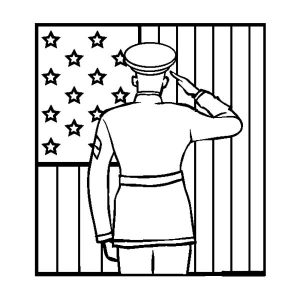 Soldier Salute Flag Day Coloring Pages