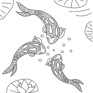 Three Koi Fish Coloring Pages