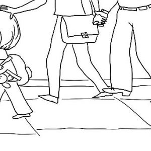 Trixie Walking With Knuffle Bunny Coloring Pages