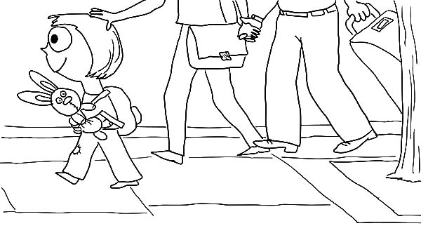 Trixie Walking With Knuffle Bunny Coloring Pages Download Print