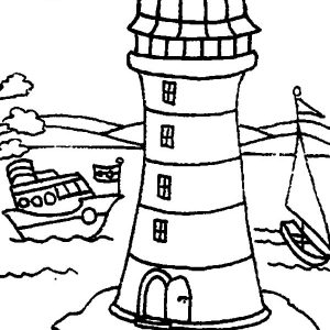 Two Boat Passing Lighthouse By Coloring Pages