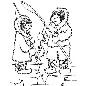Two Eskimo Girl Fishing Fun Coloring Pages