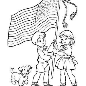 Two Excited Kids And Dog On Flag Day Coloring Pages