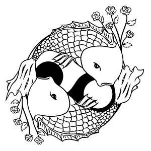Two Koi Fish Formed Yin Yang Sign Coloring Pages