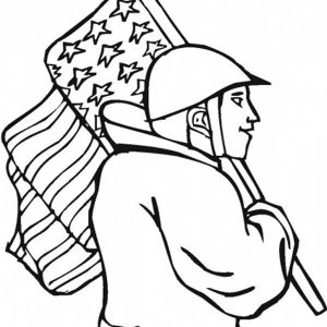 Veterans Walking On Flag Day Coloring Pages
