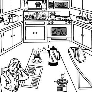Waiting For Breakfast In The Kitchen Coloring Pages
