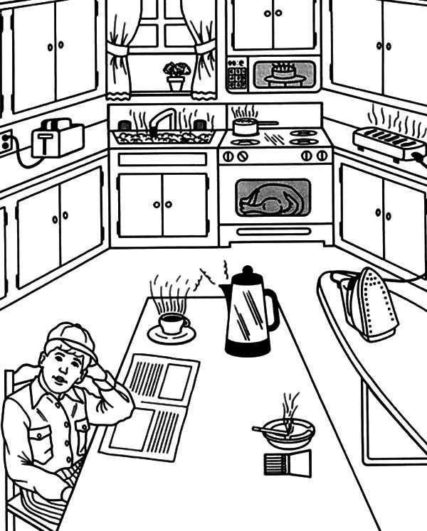 kitchen coloring pages waiting for breakfast in the kitchen coloring pages 3385